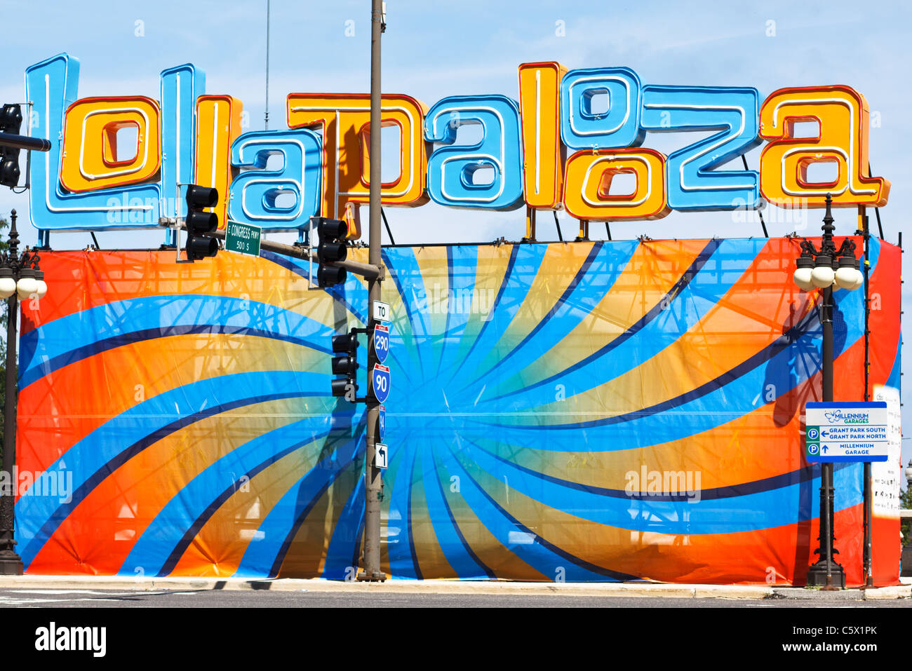 Lollapalooza sign Chicago, Illinois - Stock Image