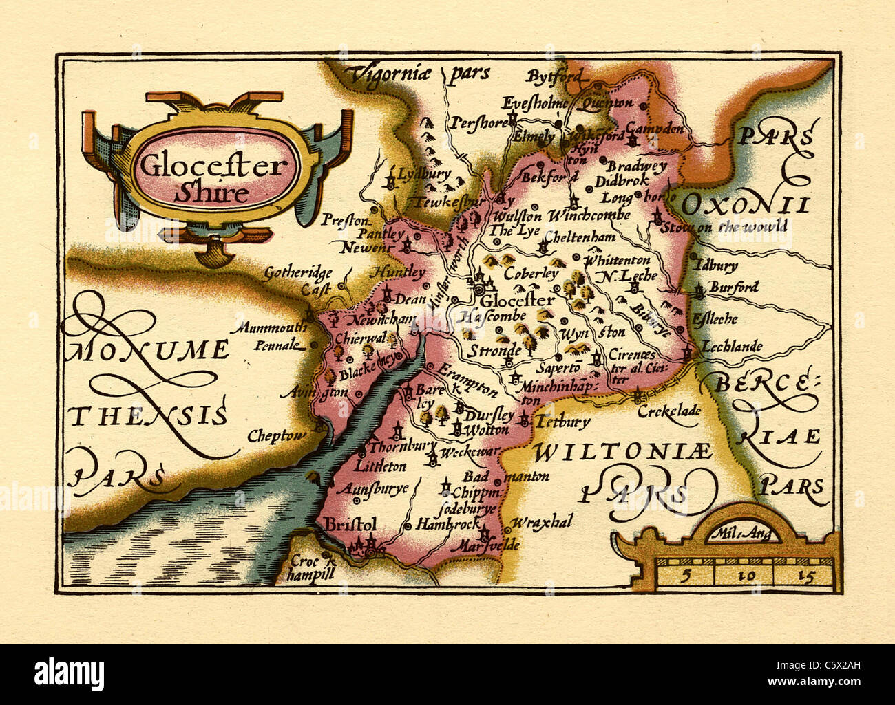 Gloucestershire (Glocestershire) - Old English County Map by John Speed, circa 1625 - Stock Image