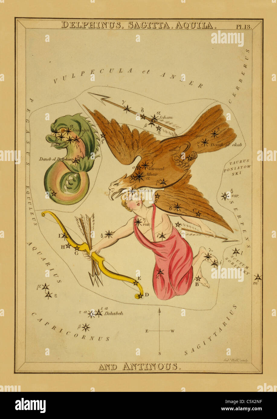 Delphinus, Sagitta, Aquila, and Antinous - 1825 Astronomical Chart - Stock Image
