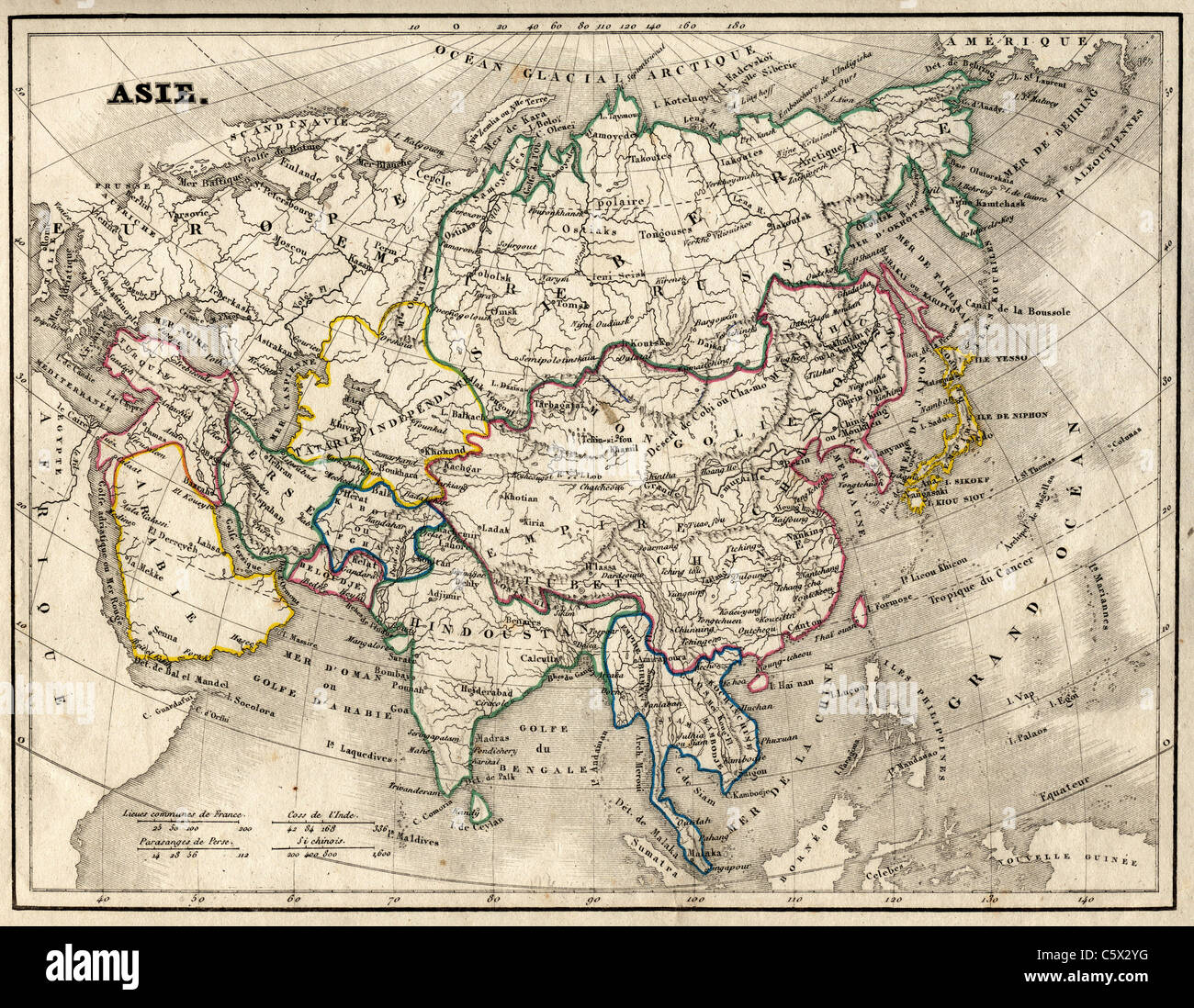 Asie (Asia) Antiquarian Map from 'Atlas Universel de Geographie Ancienne and Moderne' by cartographer C. - Stock Image