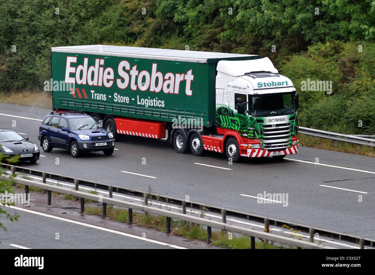 Eddie Stobart lorry on M40 motorway, Warwickshire, UK Stock Photo