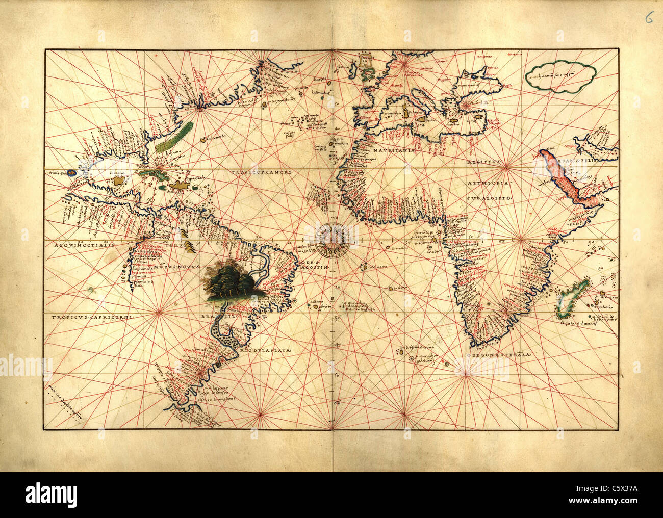 Atlantic Ocean - Antiquarian Map or Portolan Chart from 16th Century Portolan Atlas Stock Photo