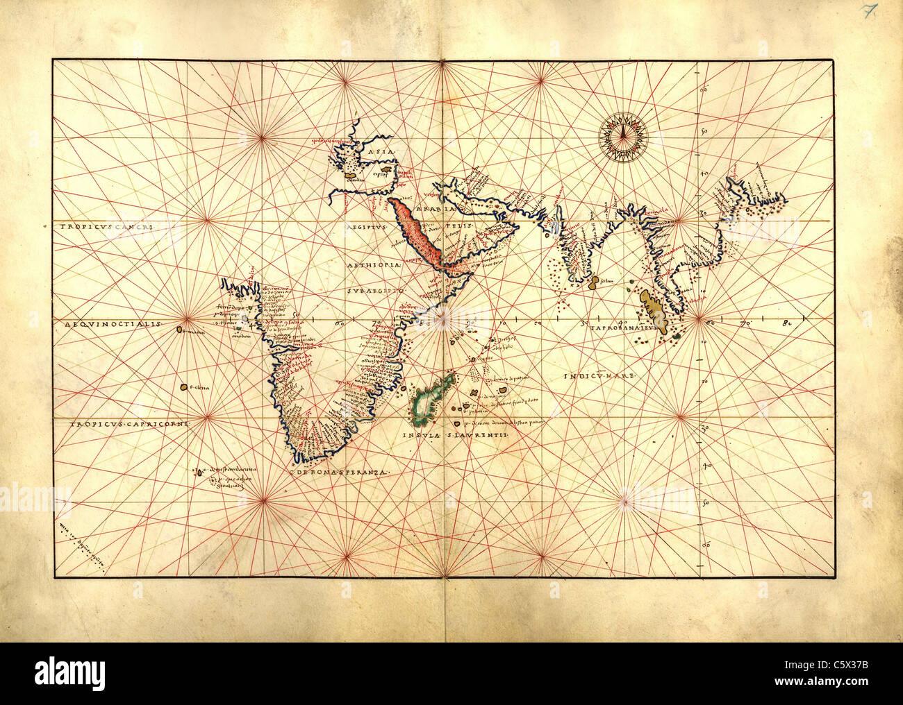 Indian Ocean - Antiquarian Map or Portolan Chart from 16th Century Portolan Atlas Stock Photo