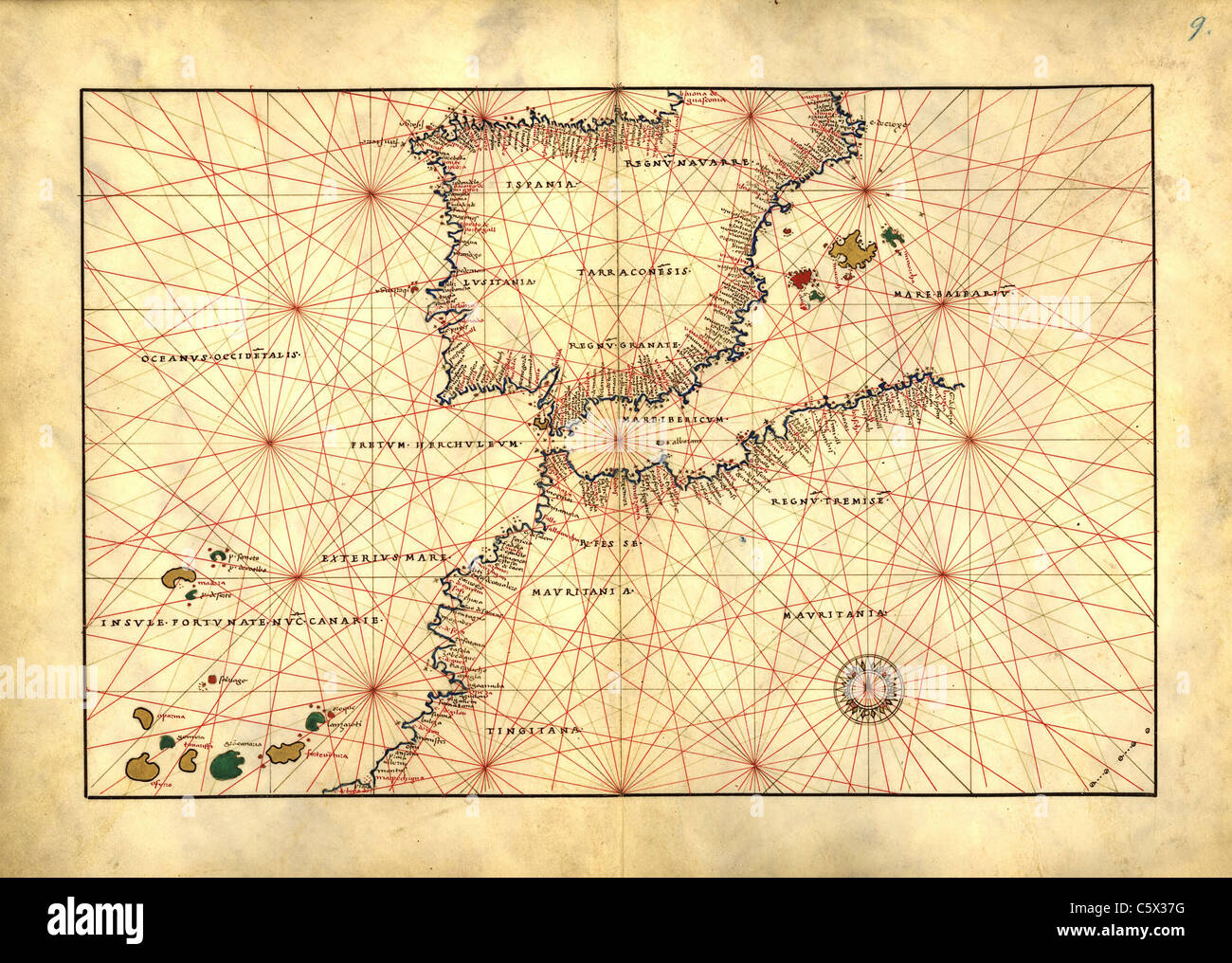 Straits of Gibraltar with Northwest Africa and Spain - Antiquarian Map or Portolan Chart from 16th Century Portolan Stock Photo