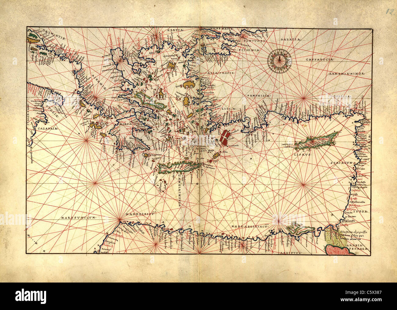 Eastern Mediterranean, Greece, Turkey - Antiquarian Map or Portolan Chart from 16th Century Portolan Atlas Stock Photo