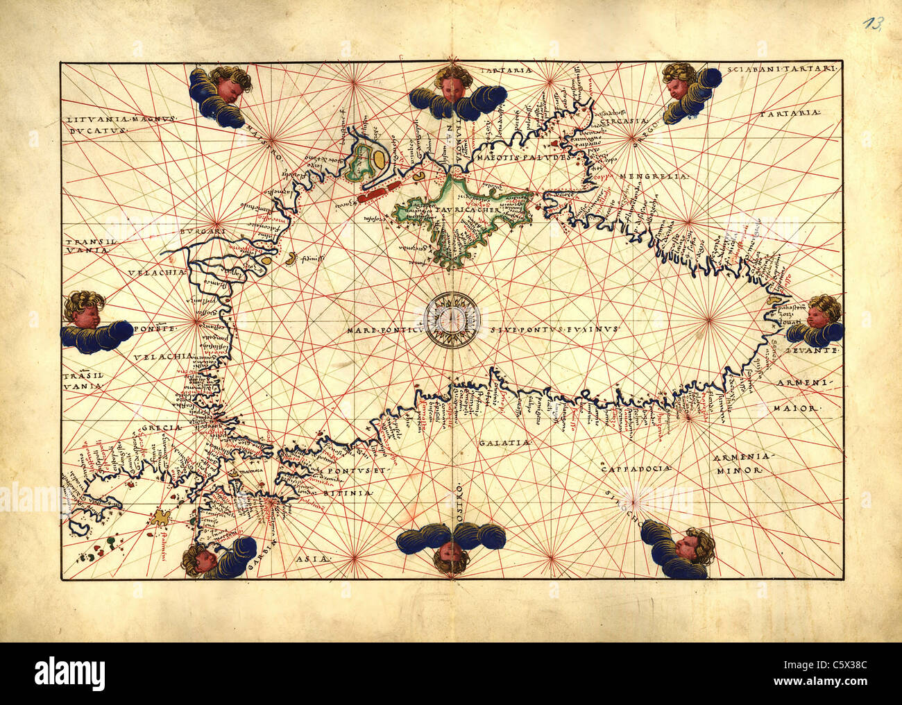 Black Sea - Antiquarian Map or Portolan Chart from 16th Century Portolan Atlas Stock Photo