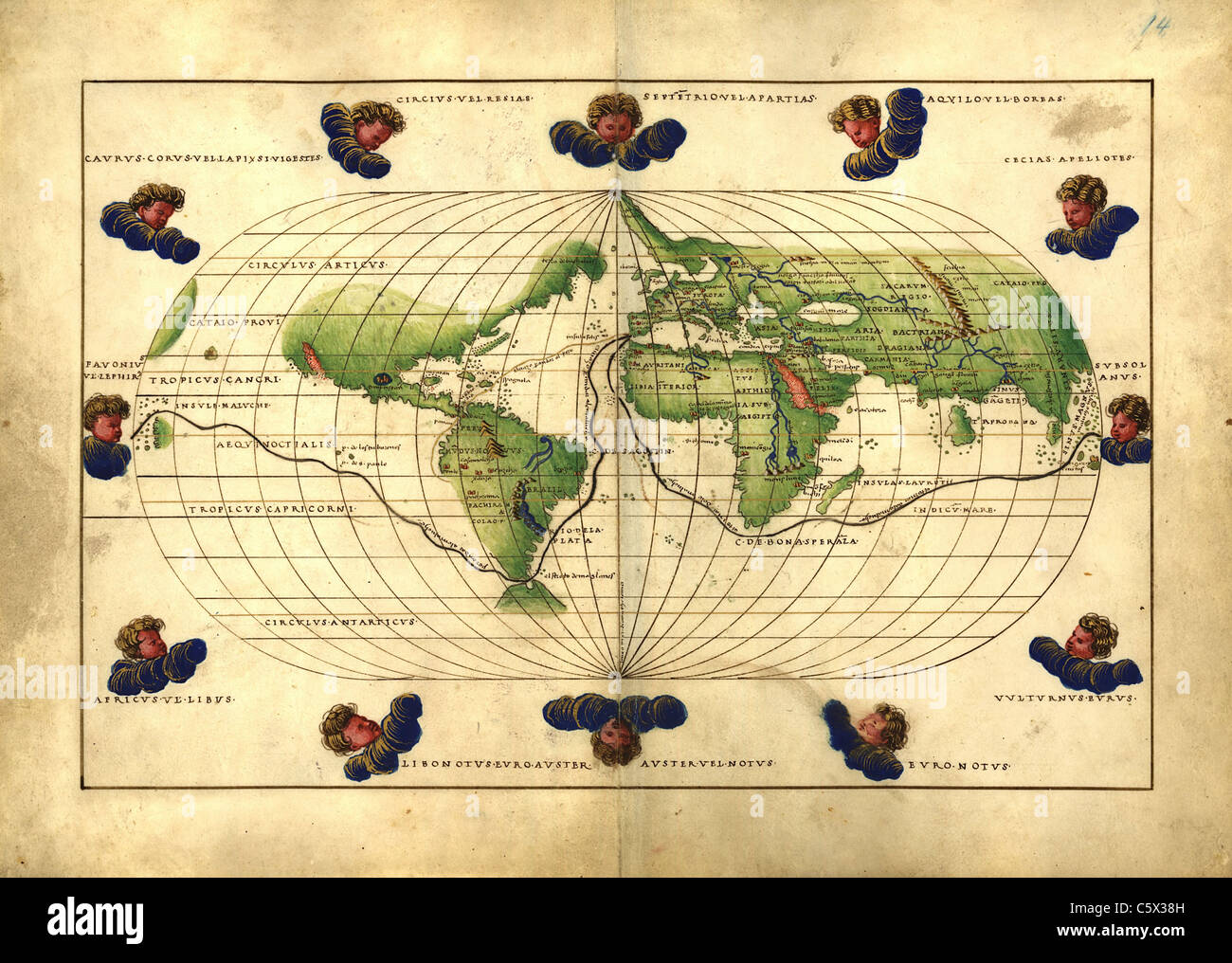 World Map with Wind Heads - Antiquarian Map or Portolan Chart from 16th Century Portolan Atlas Stock Photo