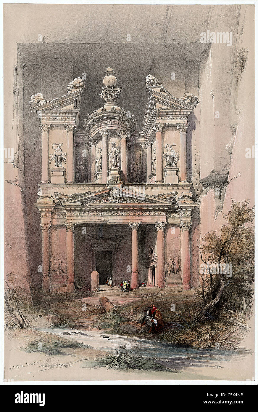 Petra March 7th 1839 - 'David Roberts and Louis Haghe Lithograph - Stock Image