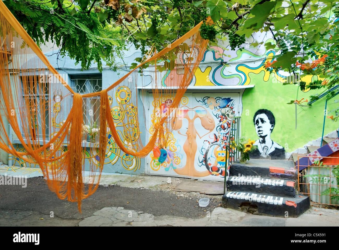 Unusual Odessa court yard - patchwork a court yard. Odessa, Ukraine. - Stock Image