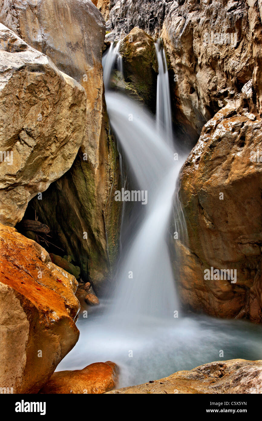 One of the waterfalls in Sarakina Gorge close to Mythoi village, about 20 km west of Ierapetra, Lasithi, Crete, - Stock Image
