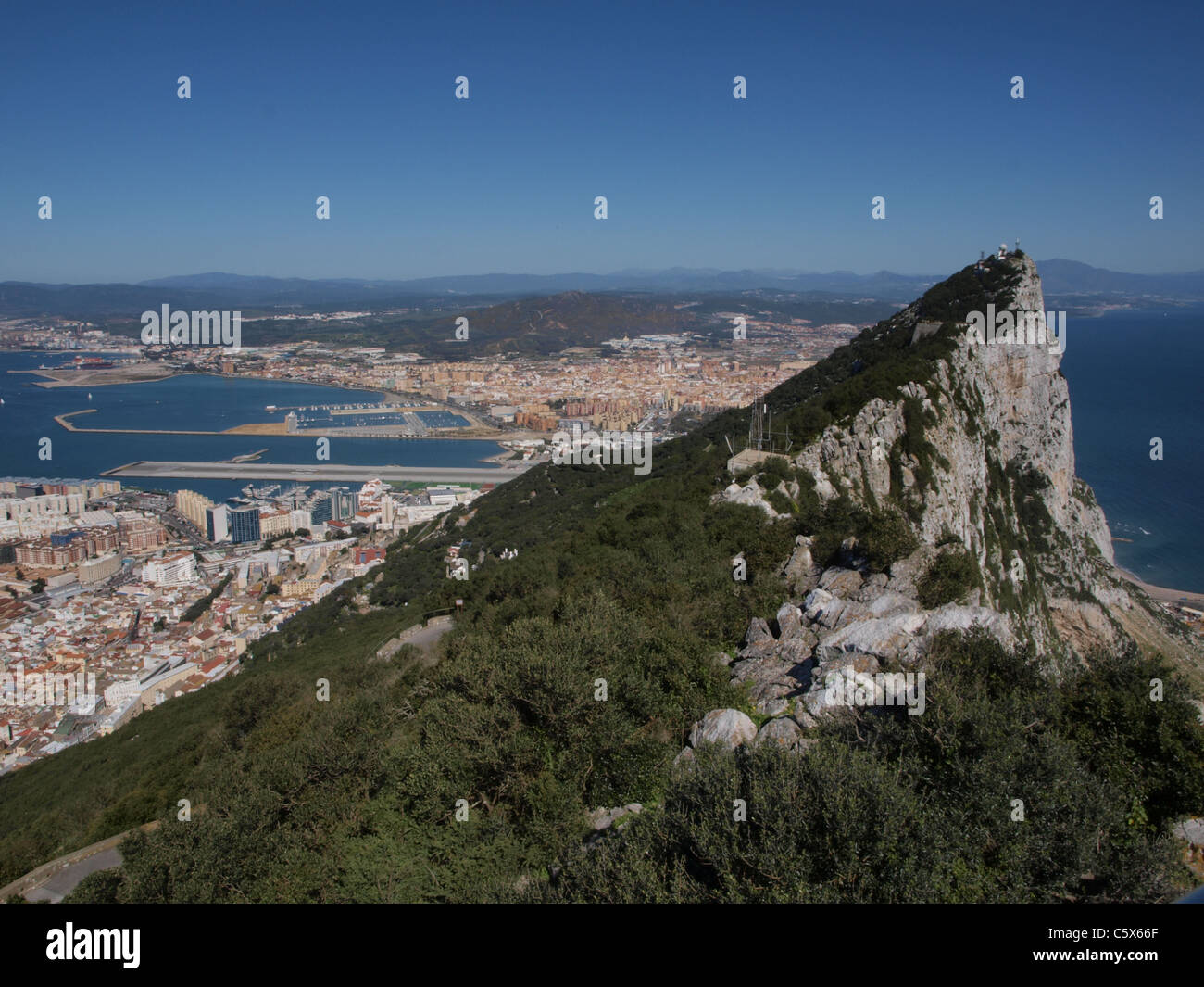 The famous Gibraltar rock and sea. - Stock Image