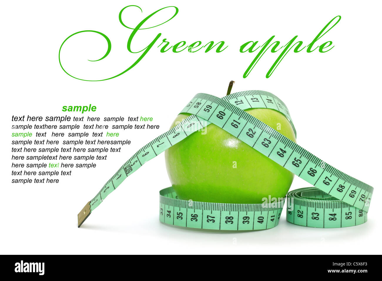 Green apple on white background - Stock Image