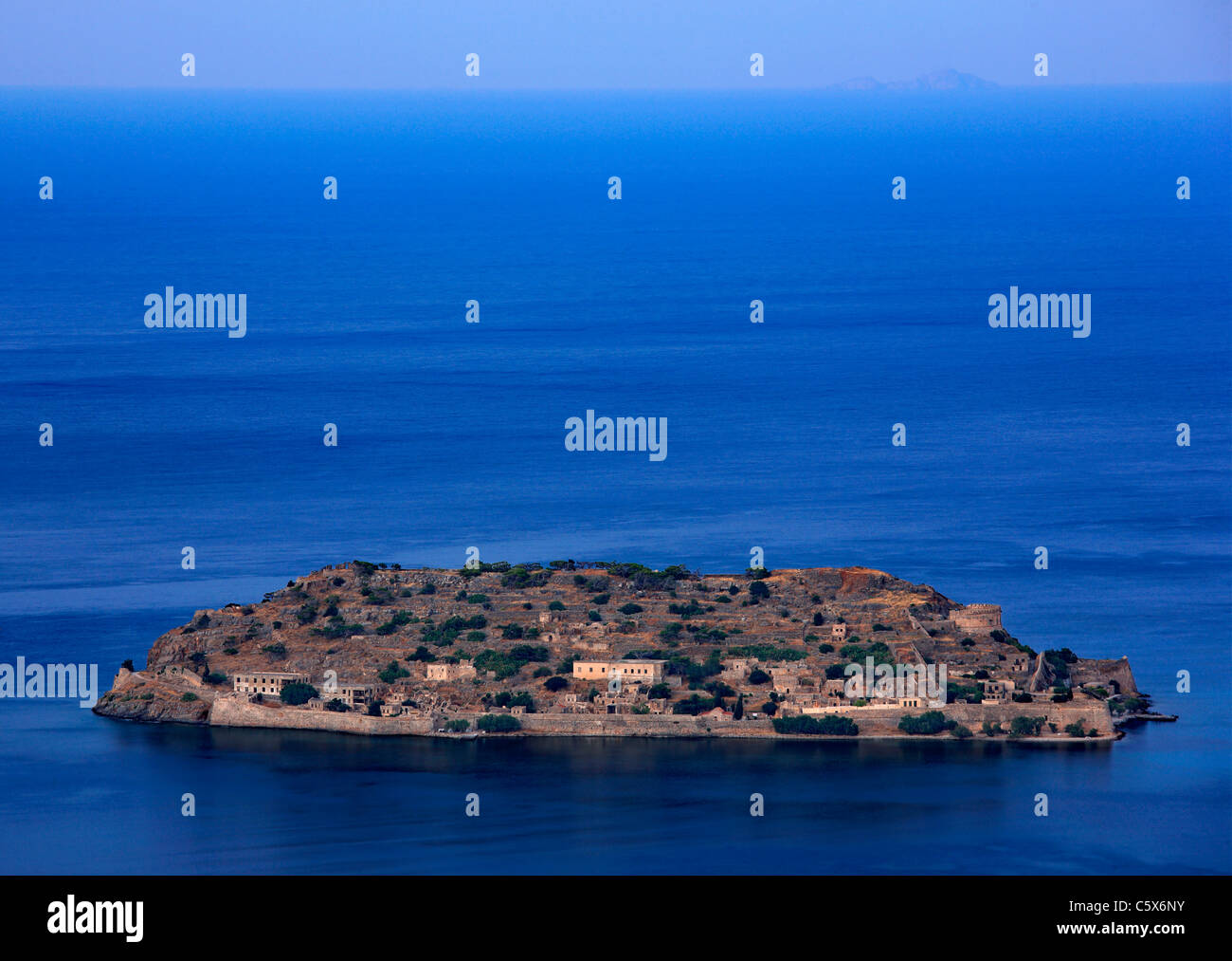 Panoramic view of Spinalonga island and castle, former leper colony, in Mirabello bay, Lasithi prefecture, Crete, - Stock Image