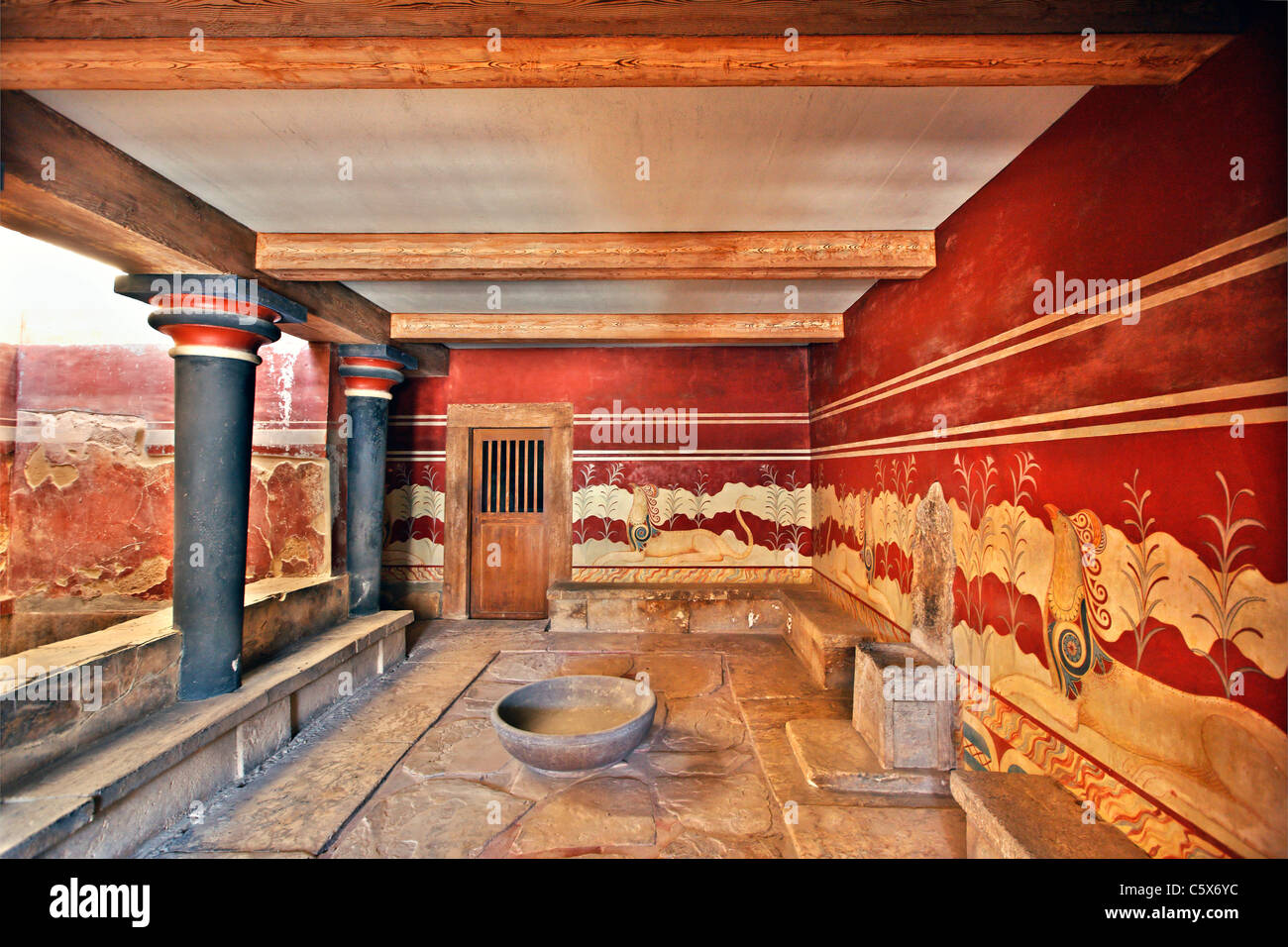 The hall of the throne in the Minoan Palace of Knossos, Heraklion, Crete, Greece - Stock Image