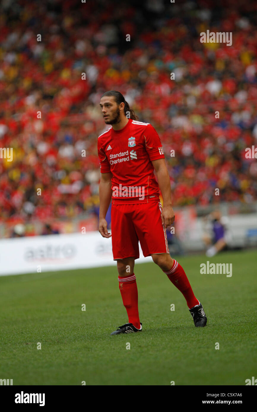 KUALA LUMPUR-JULY 16:Liverpool football club player Andy Carroll during a friendly match against Malaysia XI on - Stock Image