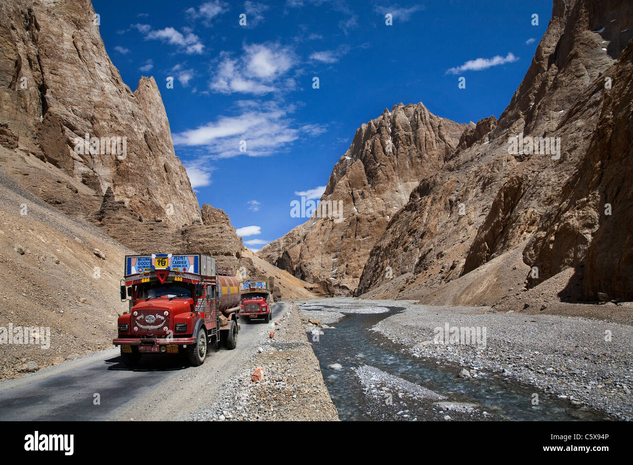 Trucks carrying petrol going through Leh- Manali road. Ladakh. India - Stock Image