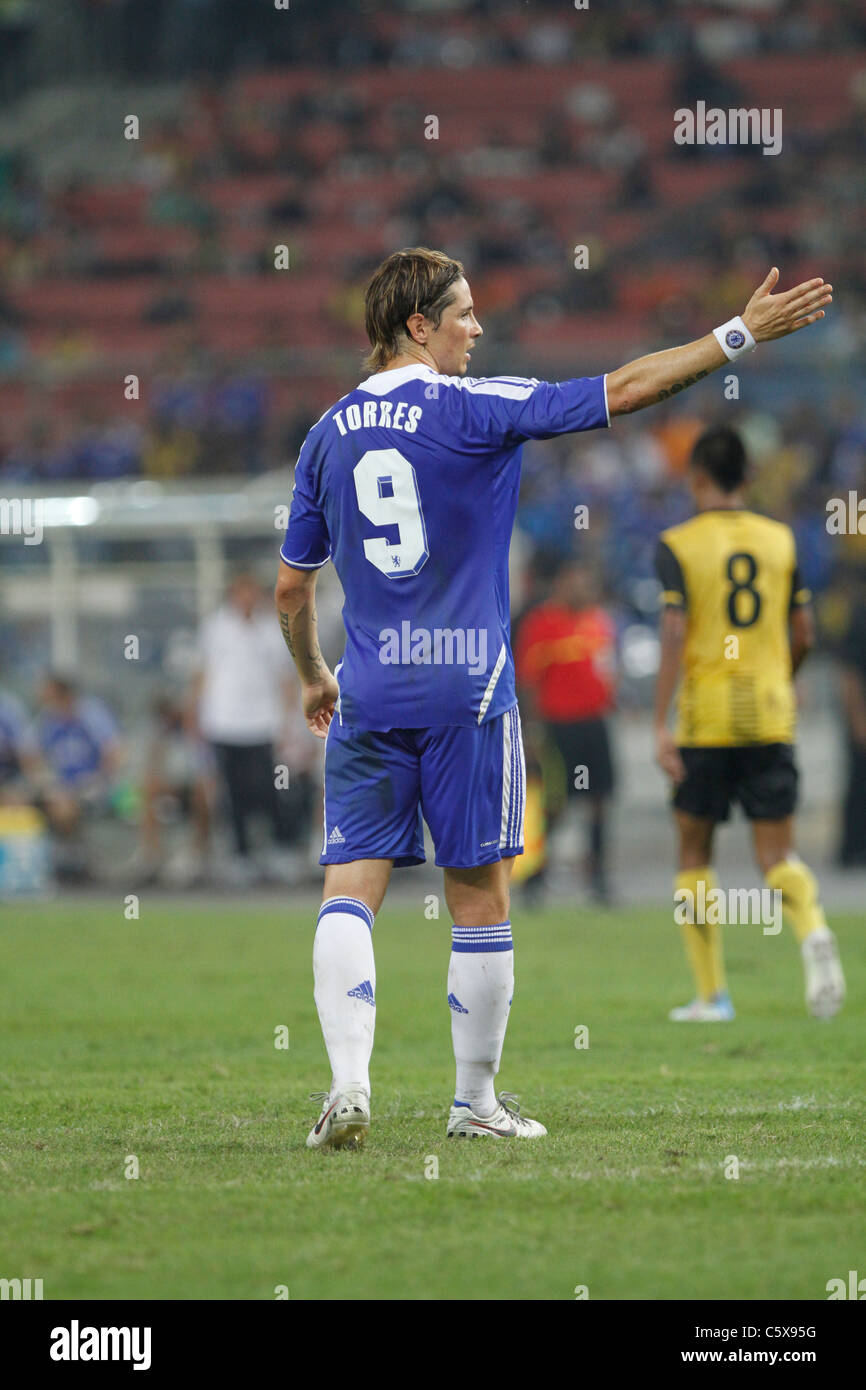 KUALA LUMPUR - JULY 21:Chelsea football club player Fernando Torres during a friendly match against Malaysia XI - Stock Image