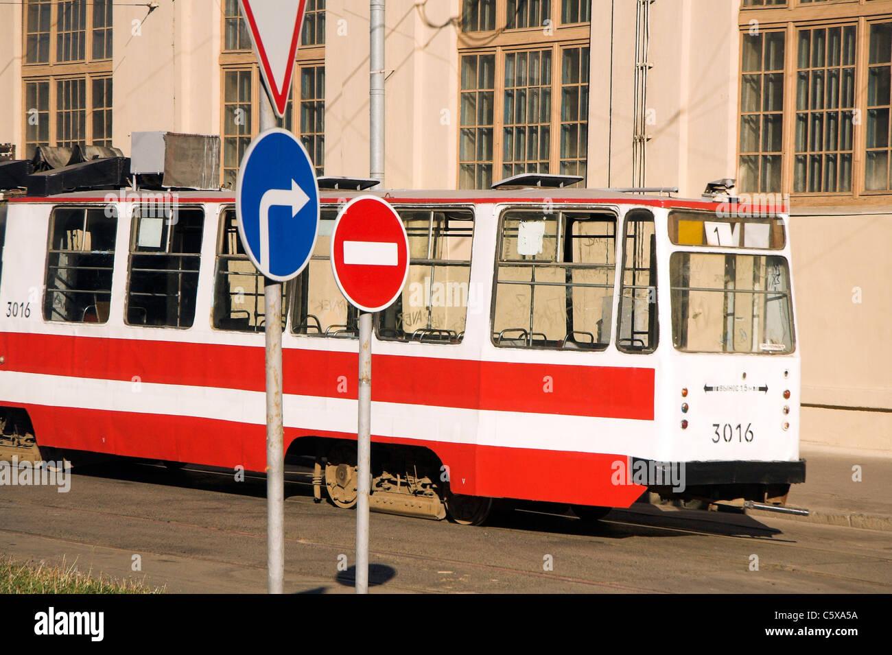 Ice tram in St. Petersburg