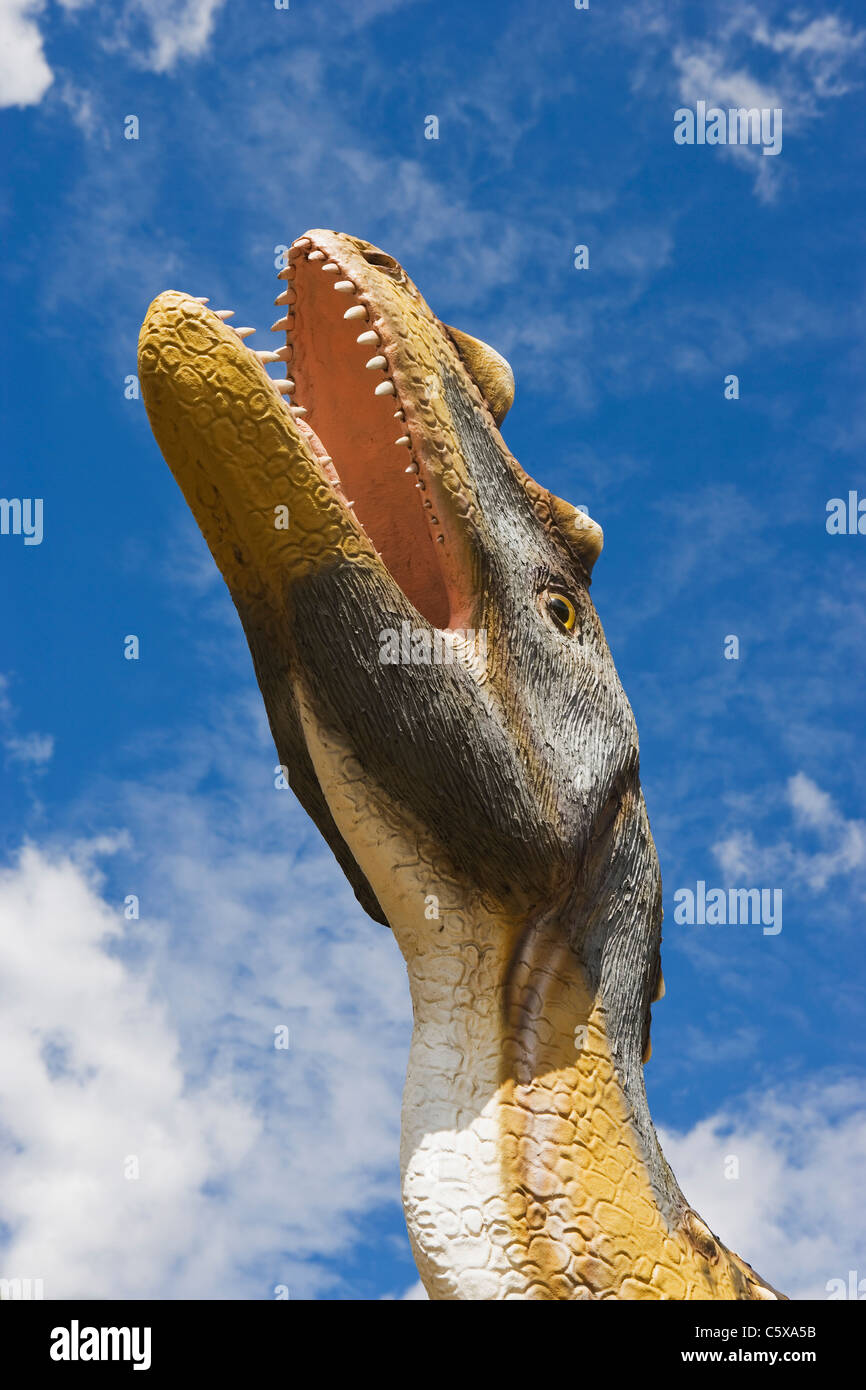 Saurian, Extinct species, Model, low angle view - Stock Image
