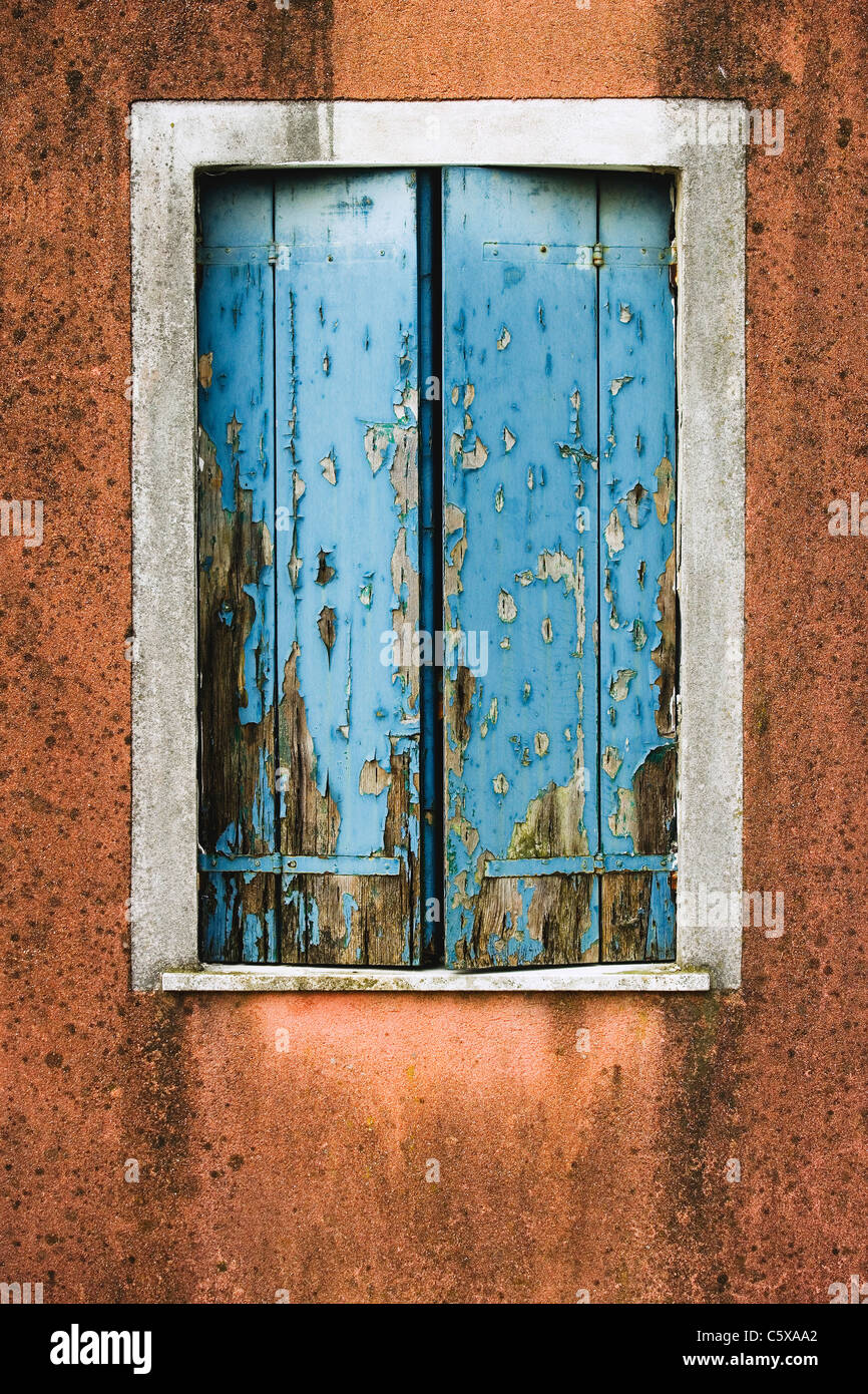 Facade, Weathered window shutters, close up - Stock Image