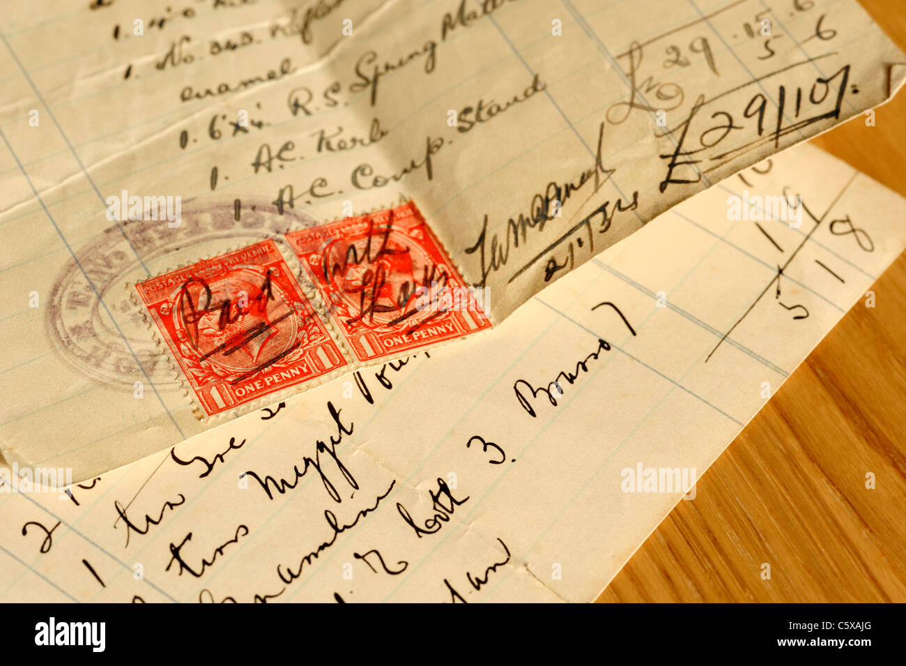Stamp duty on an old receipt - Stock Image