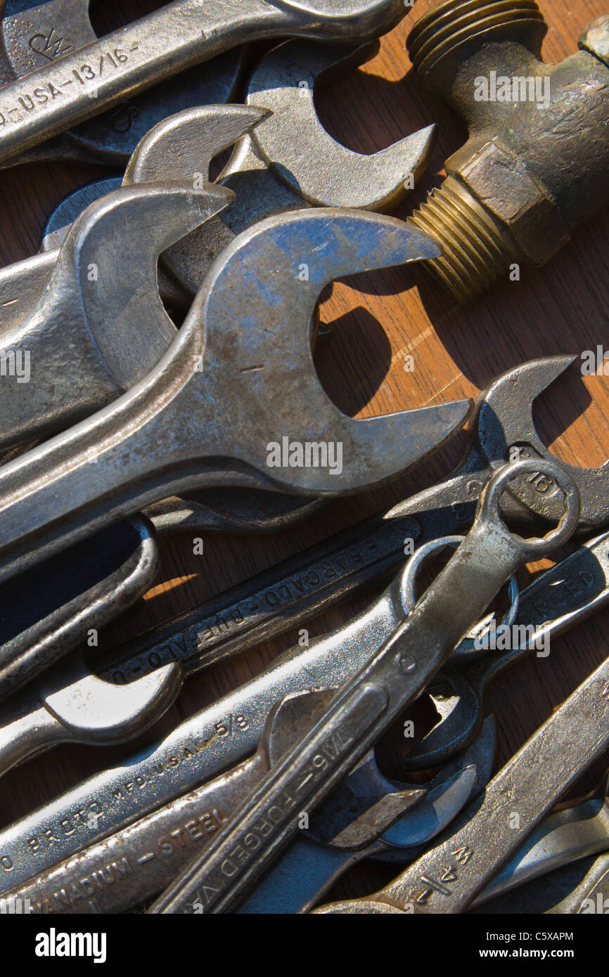 Close-up of old wrenches or spanners - Stock Image