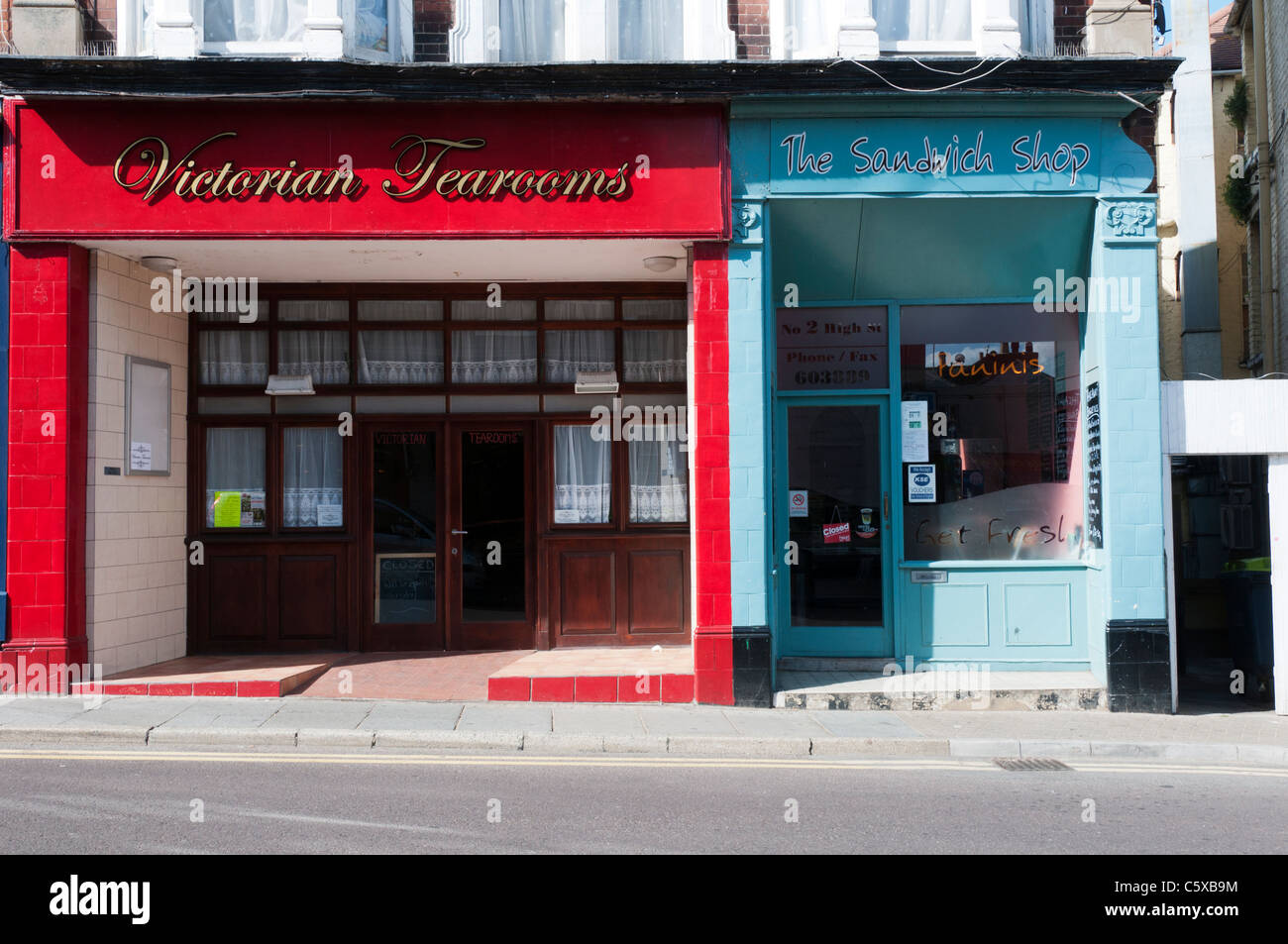 Victorian Tearooms and The Sandwich Shop, adjacent shops in Broadstairs High Street, Kent Stock Photo