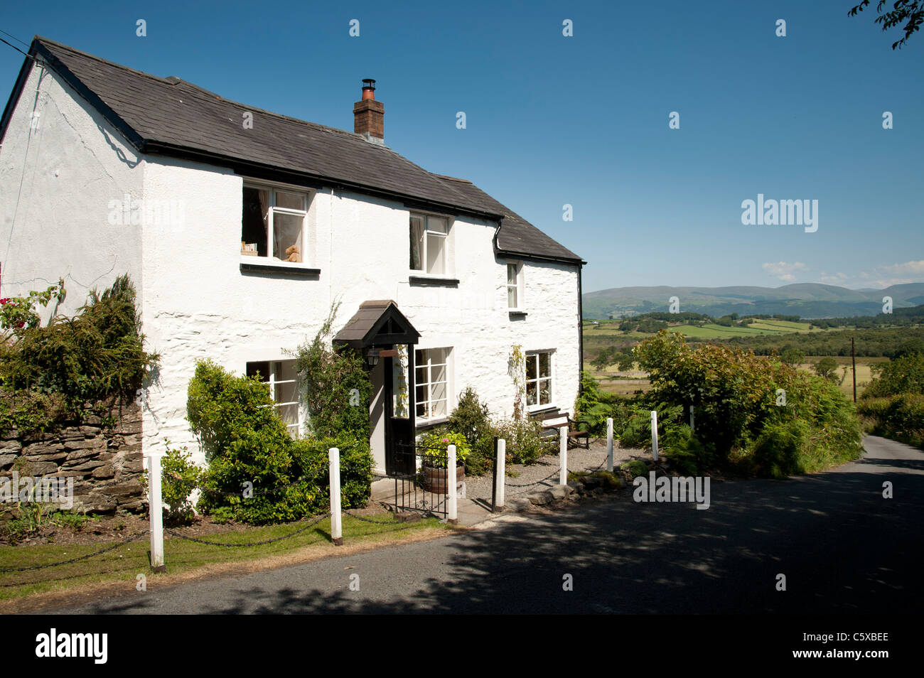 Summer afternoon - A small holiday cottage in the Dyfi valley near , Talybont, Ceredigion, Wales UK - Stock Image