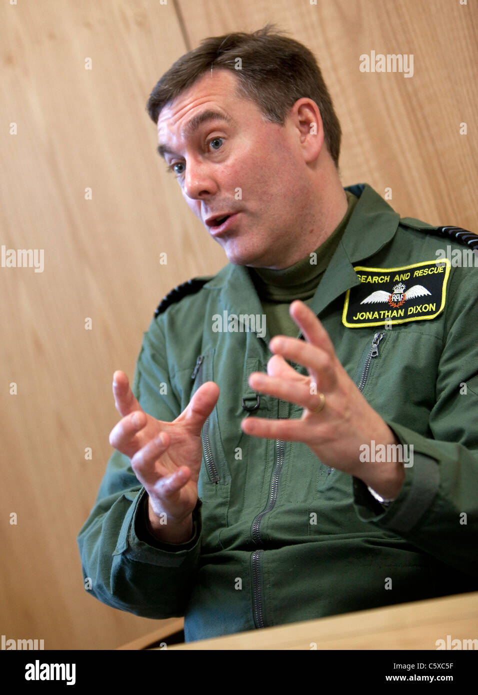 Group Captain Jonathan Dixon of the RAF Search and Rescue team (SARS) at Raf Valley on Anglesey North Wales. - Stock Image