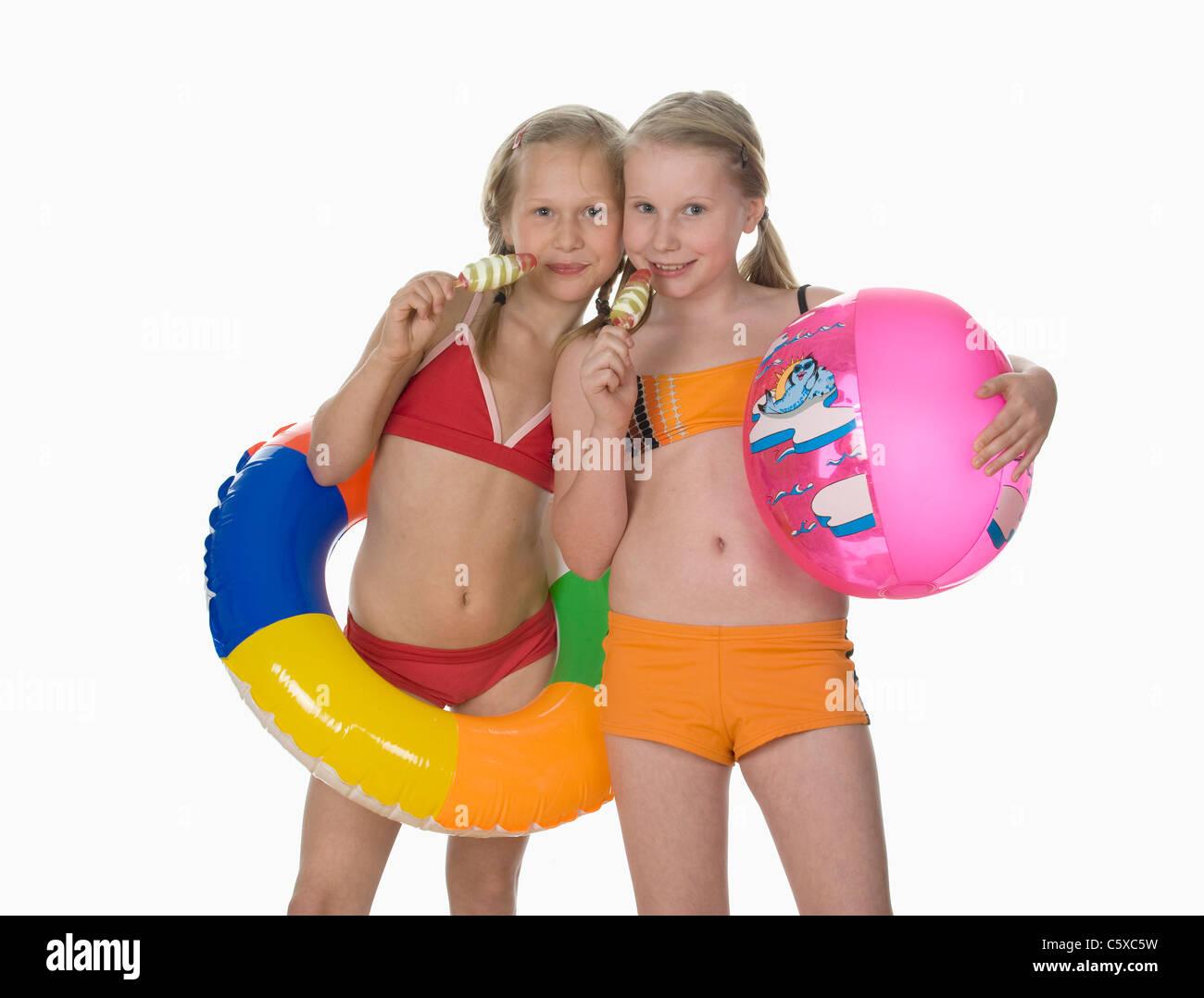 Two Girls 10 11 Wearing Bikini Holding Ice Cream Portrait