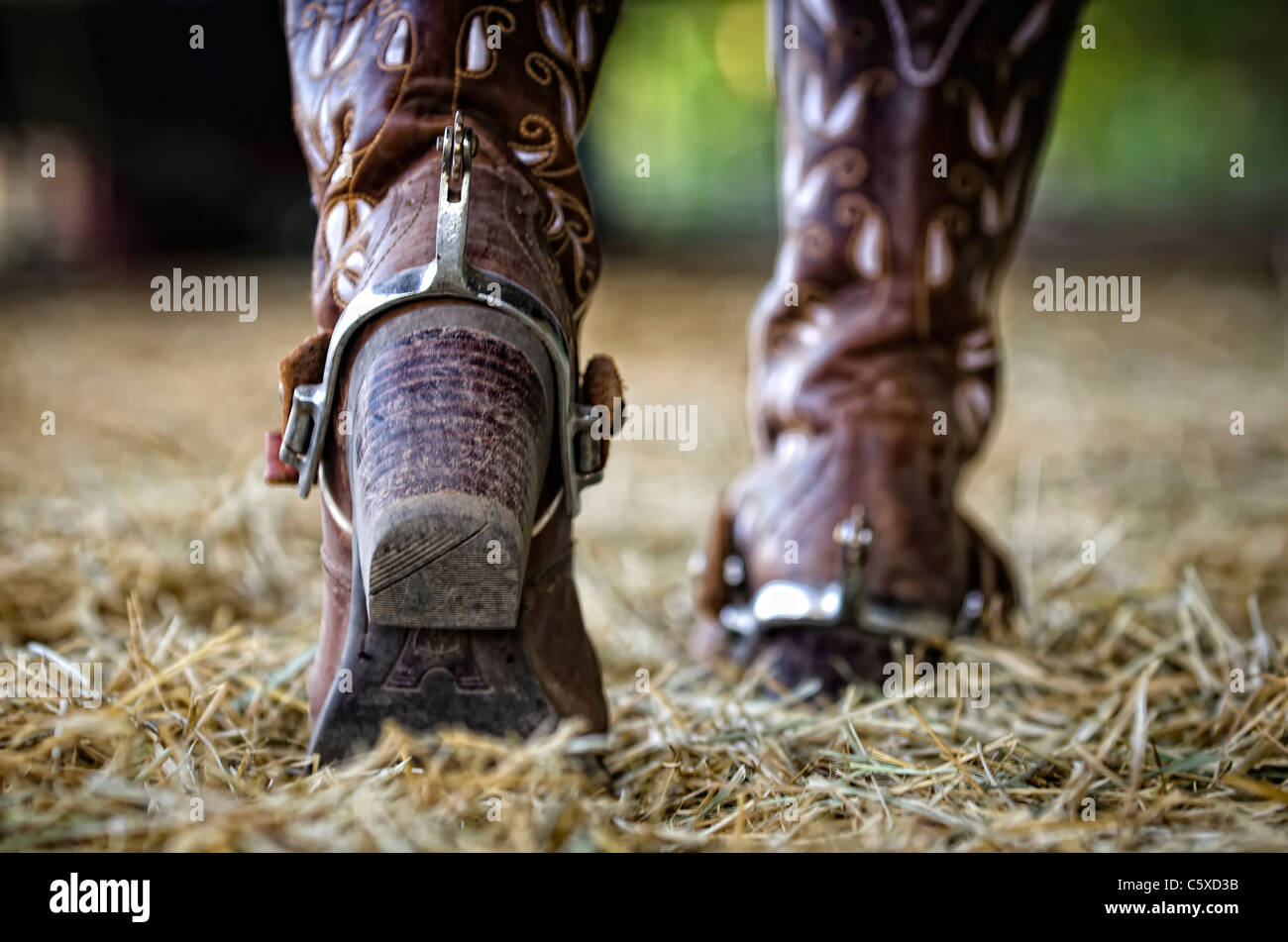 Western boots with spurs - Stock Image