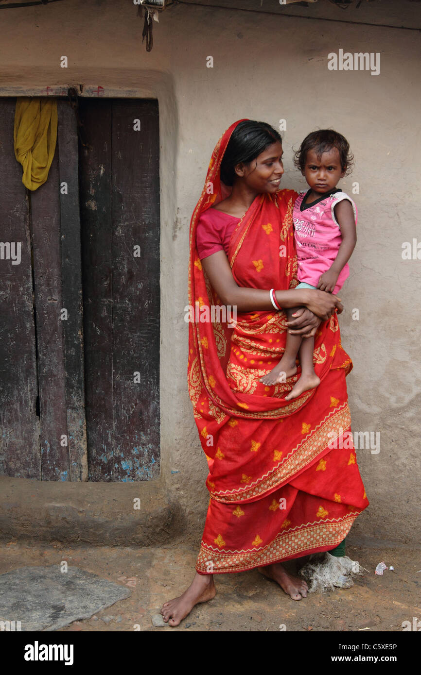 A beautiful Indian village mother with her son - Stock Image