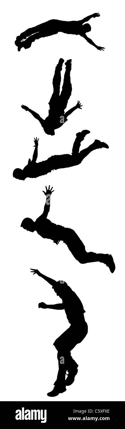 Silhouettes taken from five photos of a stuntman diving off a tall tower - all made from the same stunt jump. - Stock Image