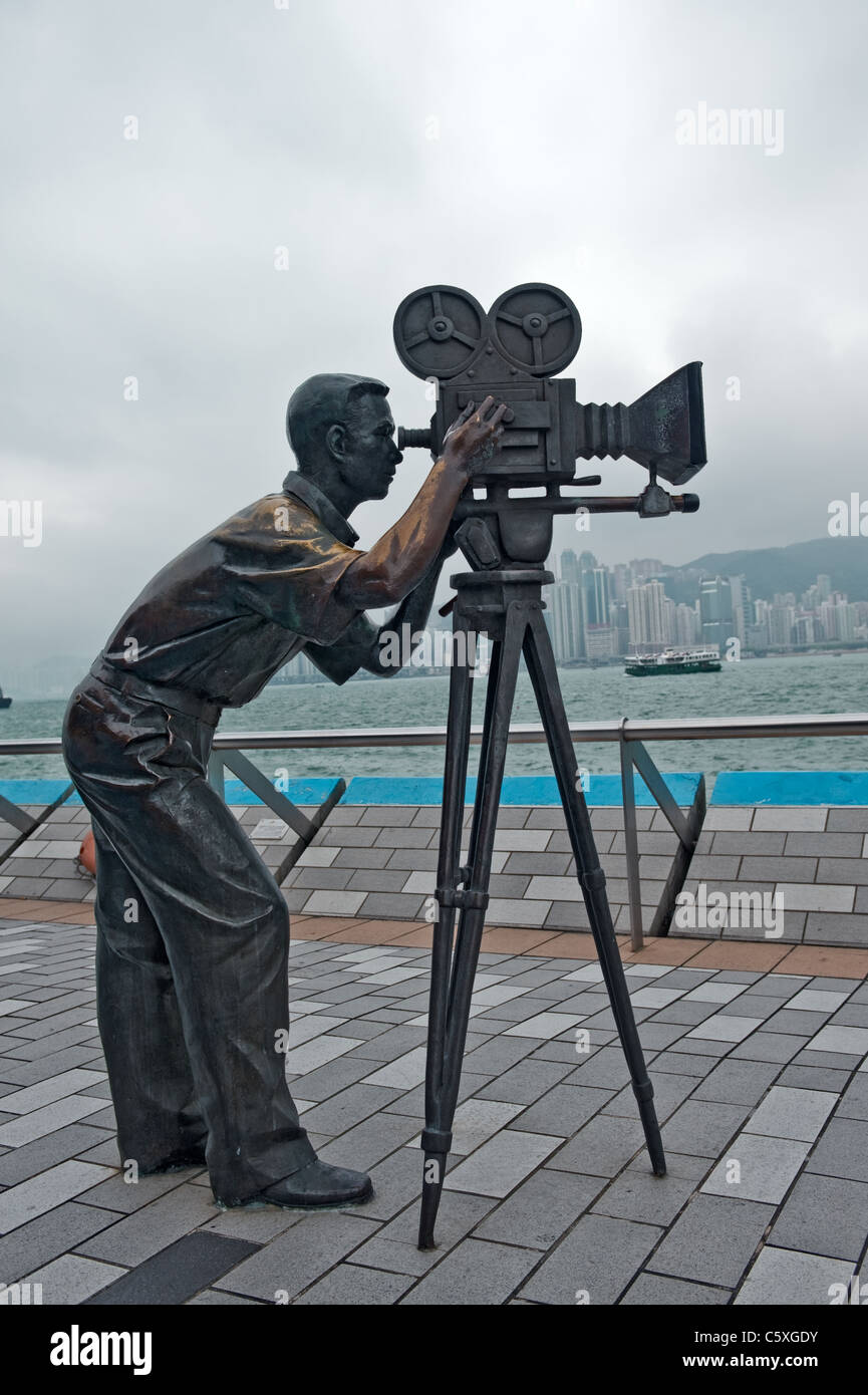 Cameramen statue in Avenue of Stars Hong Kong, Kawloon - Stock Image