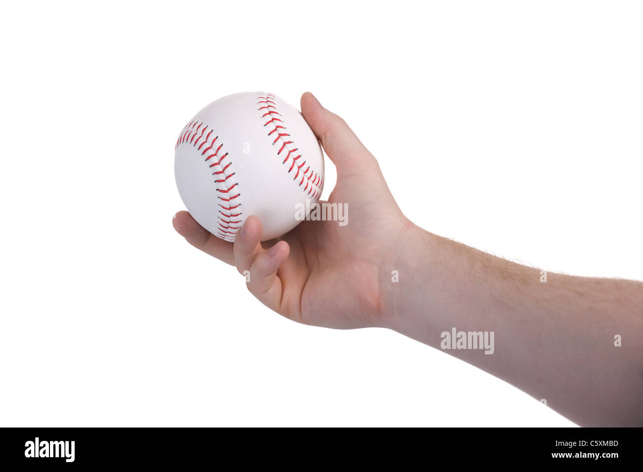 pitcher throwing a baseball during a sports game - Stock Image