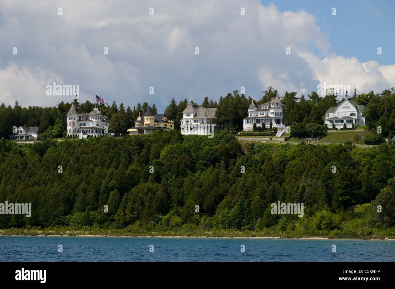 Row of Victorian historic houses on Mackinac Island, Michigan Stock Photo