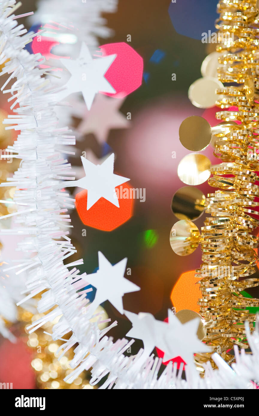 tinsel garland christmas decorations