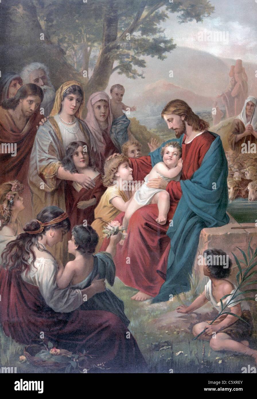 Suffer little children to come unto me - Jesus Christ with children illustration - Stock Image