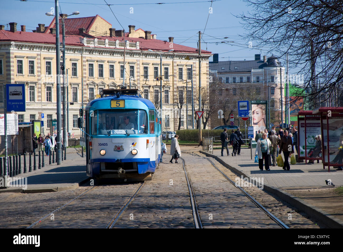 Tram, Riga, Latvia - Stock Image