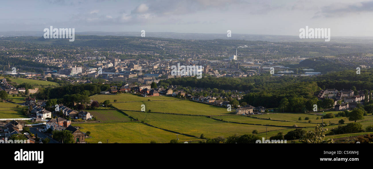 View of Huddersfield from Castle Hill. - Stock Image