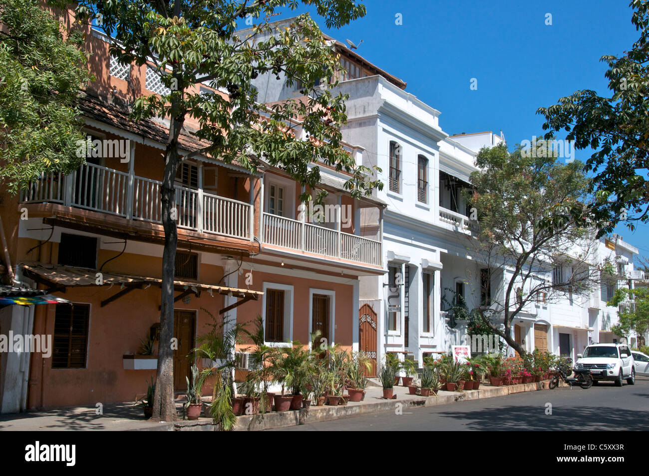 Puducherry Stock Photos Images Alamy House Wiring Books In Tamil Typical Buildings French Quarter Pondicherry Nadu South India Image