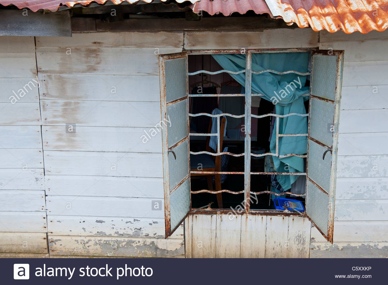 Open Window with Security Bars in Kampong Ayer Water Village