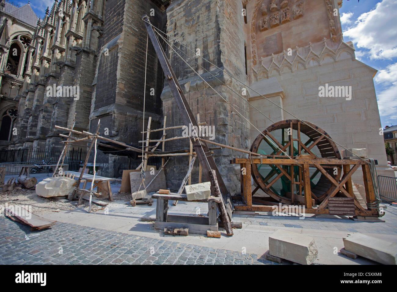 Primitive Treadwheel crane used for building construction in