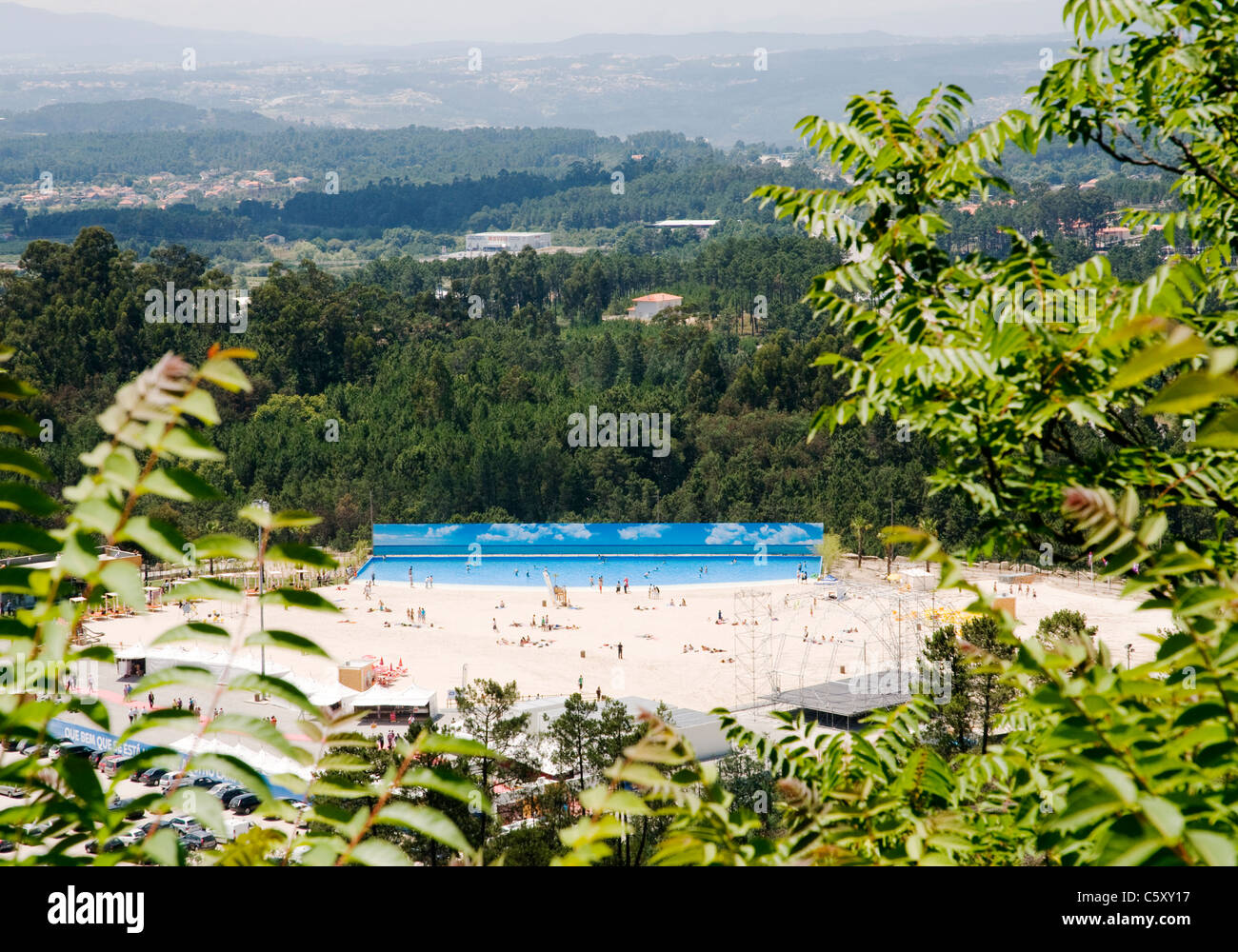 The artificial beach, known as 'Live Beach' at Mangualde, in the interior of northern Portugal, - Stock Image