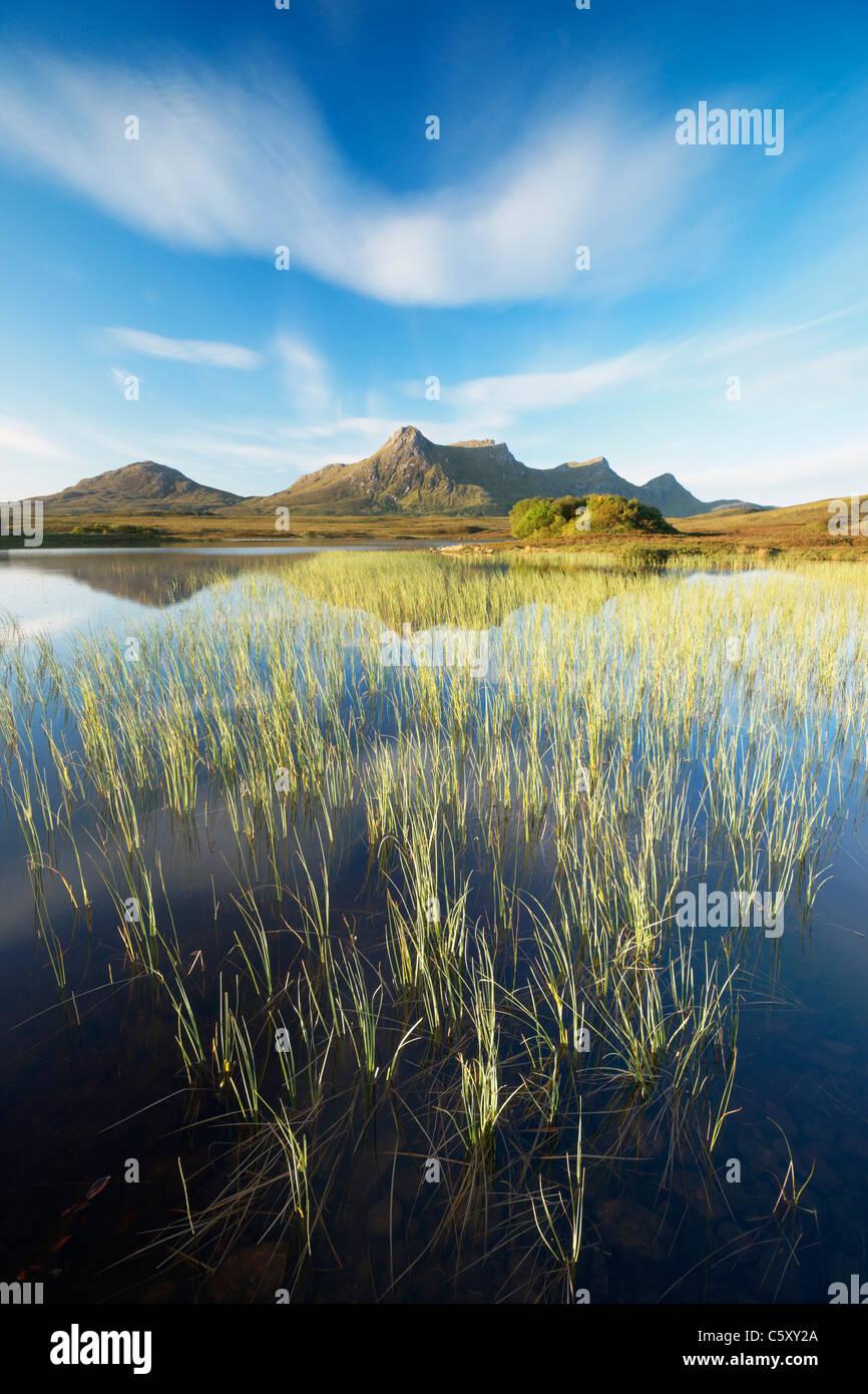 Ben Loyal and Lochan Hakel, near Tongue, Sutherland, Highland, Scotland, UK. - Stock Image