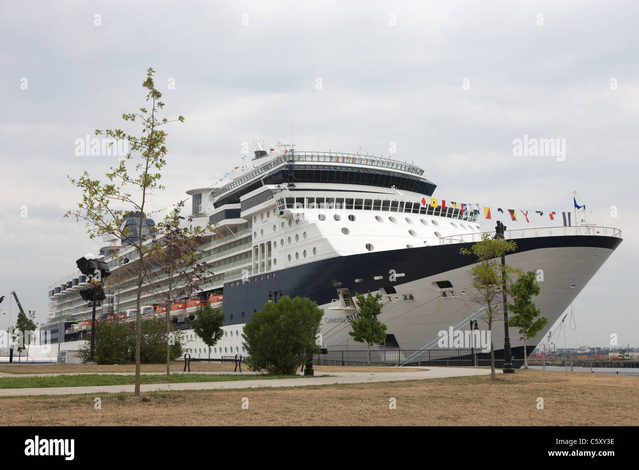 Celebrity Cruises cruise ship Celebrity Summit docked in the Cape Liberty Cruise Port in Bayonne, New Jersey. - Stock Image