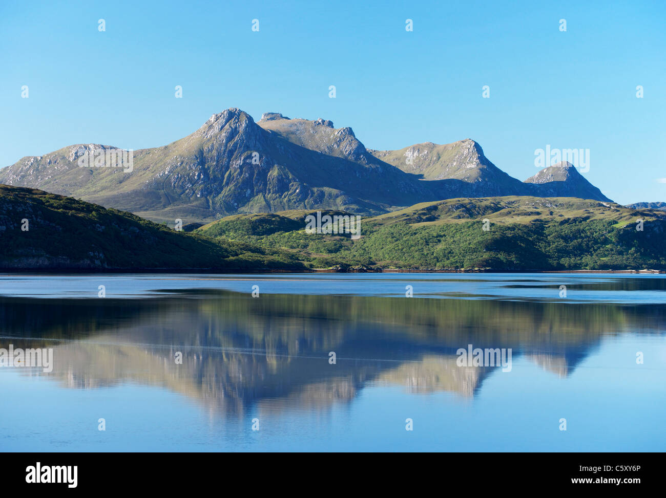 Ben Loyal and the Kyle of Tongue, near Tongue, Sutherland, Highland, Scotland, UK. Stock Photo