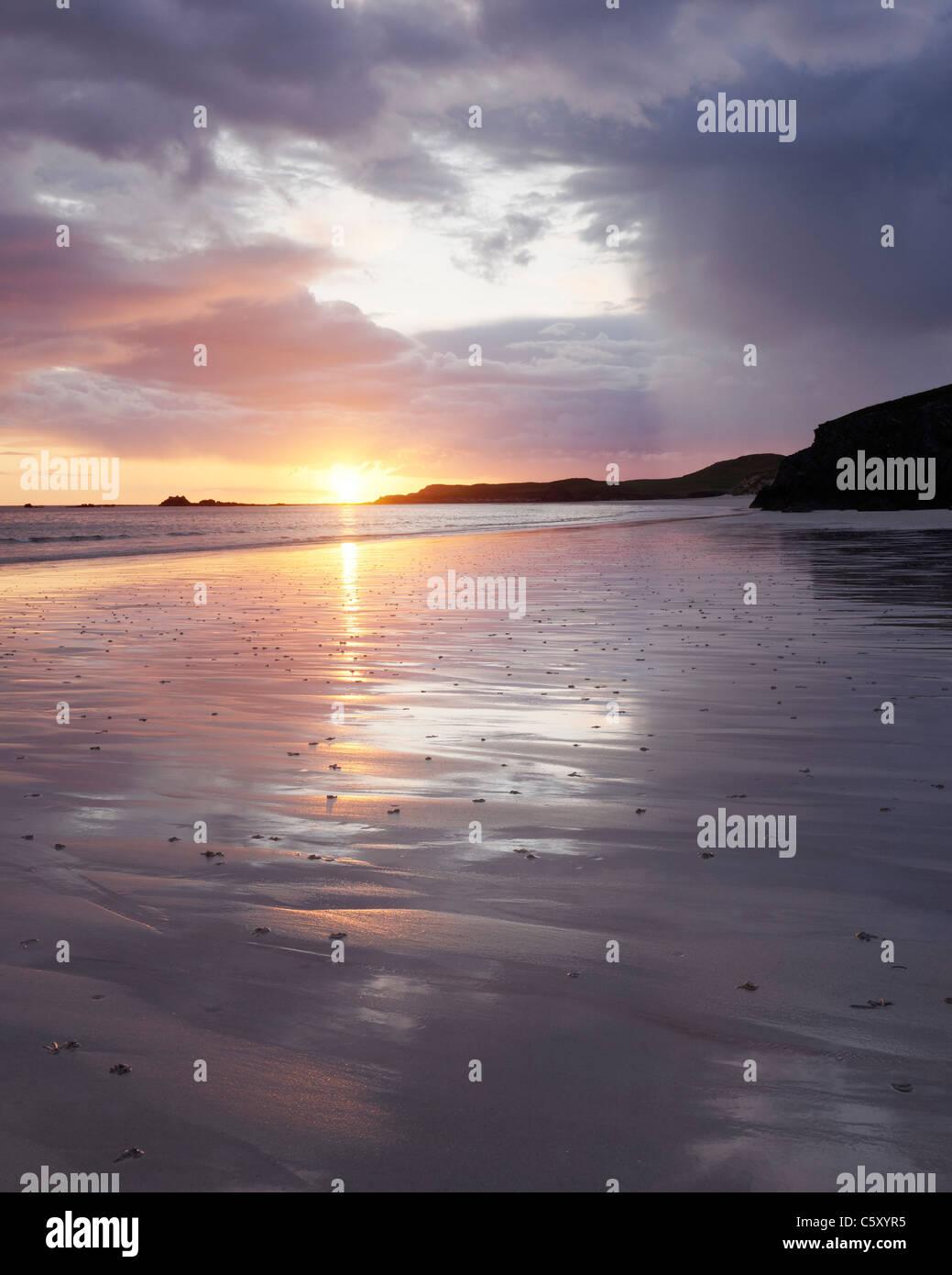 Sunset at Balnakiel Bay, near Durness, Sutherland, Highland, Scotland, UK. Stock Photo