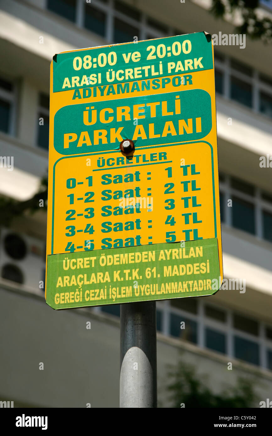 Car parking charges, Adiyaman, Turkey Stock Photo