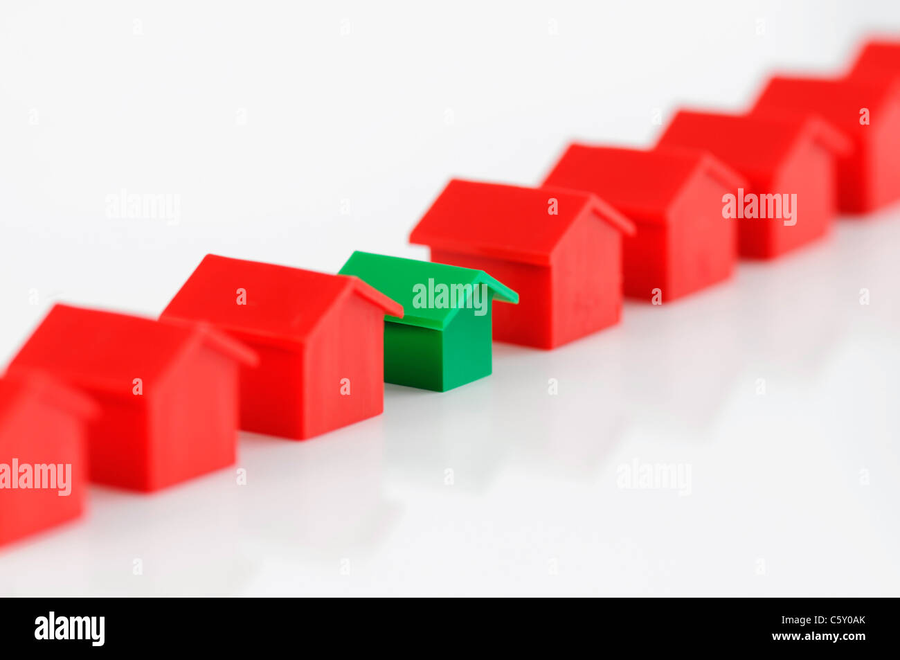 Row of model houses. Conceptual real estate image. Stock Photo